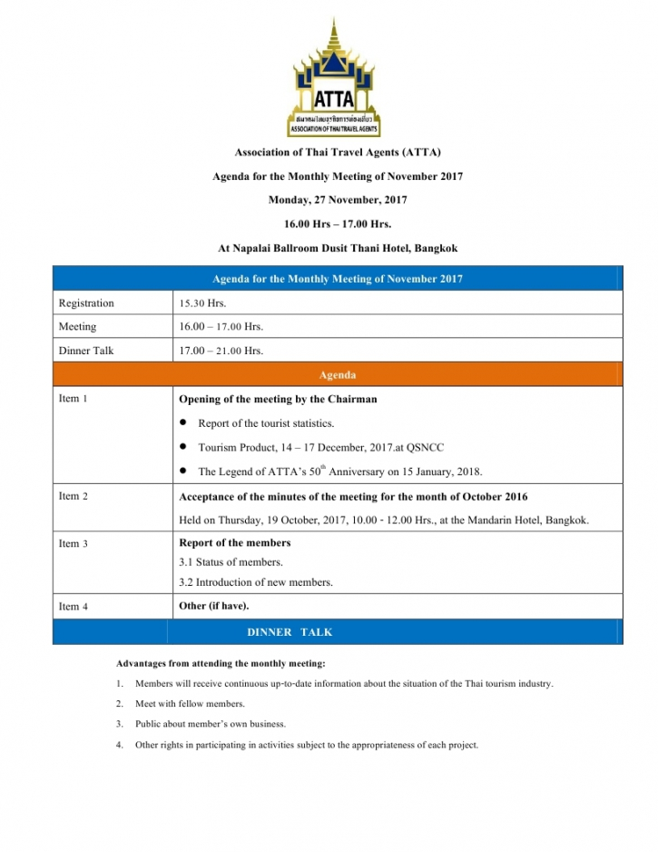 monthly meeting invitation letter